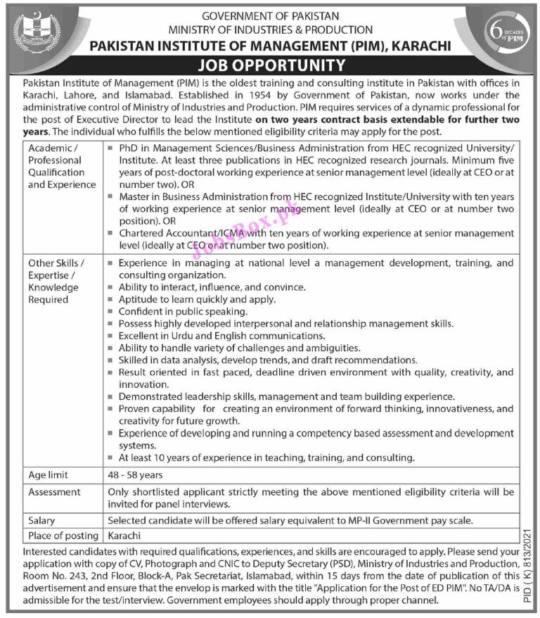 PIM Pakistan Institute of Management Jobs 2021 in Pakistan