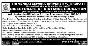 SVU DDE Distance Education UG PG Courses Admissions