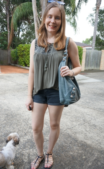 Target embroidered khaki tank, OneTeaspoon Hawks shorts in Fox black autumn boho outfit | AwayFromBlue
