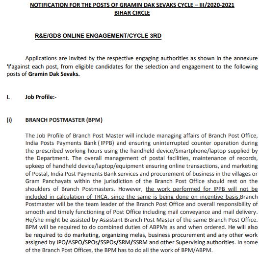Bihar GDS Recruitment 2021 Apply Online