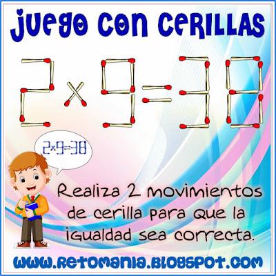 Juego con cerillas, Juego con fósforos, Juego con Palillos, Rompecabezas con cerillas, Retos matemáticos, Desafíos matemáticos, Problemas matemáticos