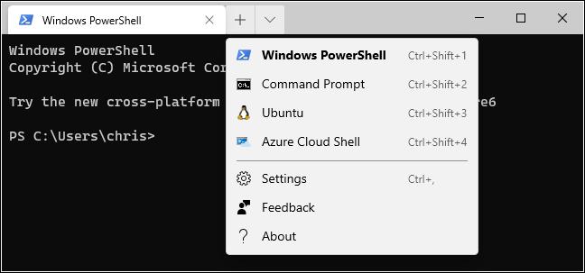 خيارات علامة تبويب جديدة في Windows Terminal.
