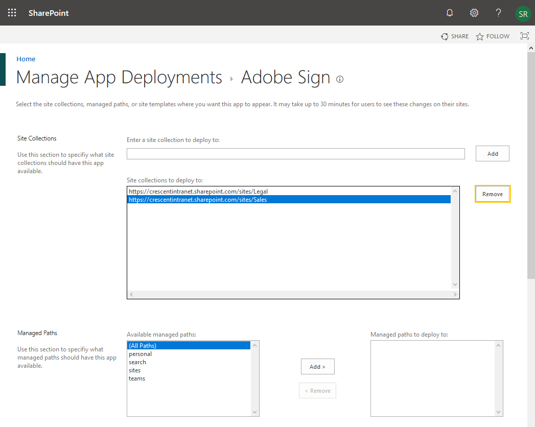sharepoint online remove app from catalog
