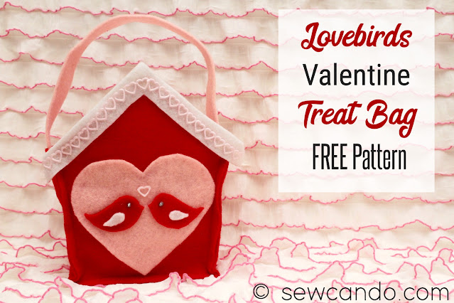 Lovebirds Felt Treat Bag for Valentine's Day - Free Sewing Pattern