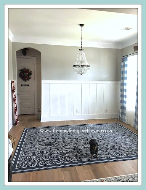 French Farmhouse-Dining Room-Ballard Designs-Indoor-Outdoor-Rug-Mia-Chandelier-Pottery-Barn-From My Front Porch To Yours-DIY-Wainscoting