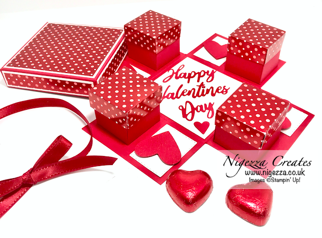 Nigezza Creates with Stampin' Up! From My Heart Explosion Gift Box Revealing 4 Hidden Lidded Boxes