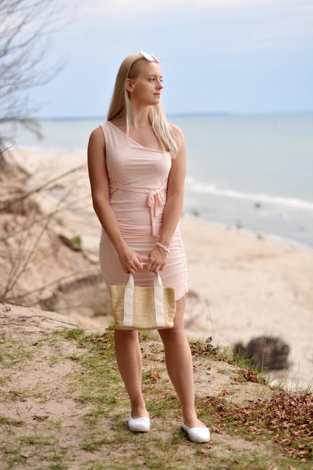 Pink One Shoulder Slinky Midi Dress - Dylan
