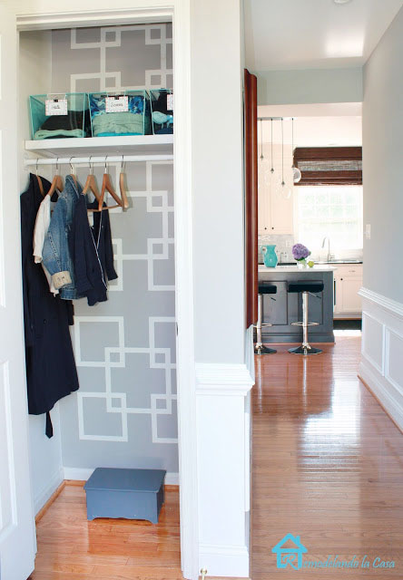 entry closet with geometric design