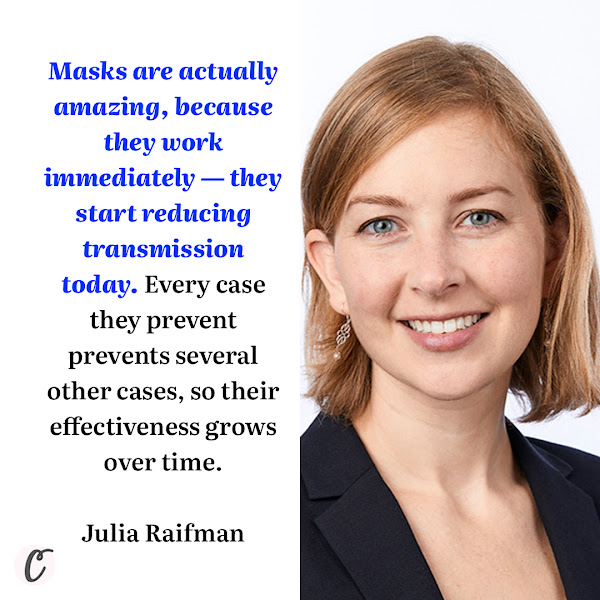 Masks are actually amazing, because they work immediately — they start reducing transmission today. Every case they prevent prevents several other cases, so their effectiveness grows over time. — Julia Raifman, an assistant professor at Boston University's School of Public Health