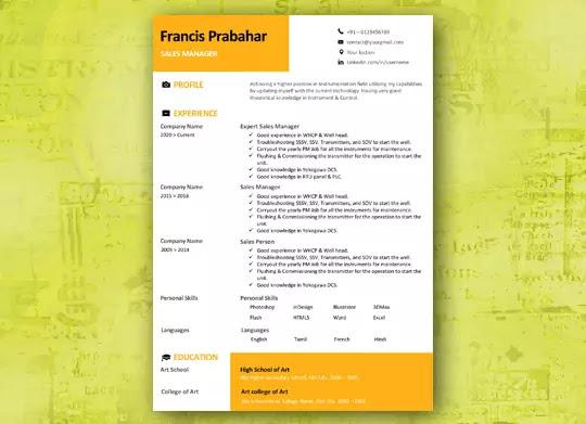 Creative Golden Yellow Resume Creative resume template
