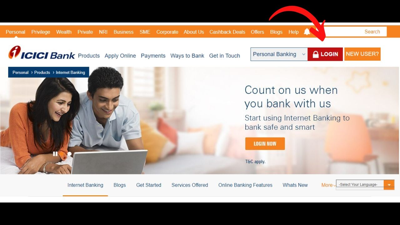 how to register internet banking in icici