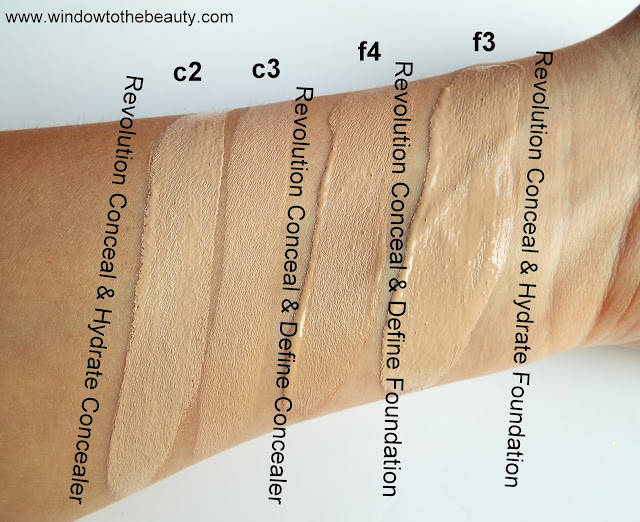 Revolution Conceal & Hydrate c2 c3 f3 f4 swatches review