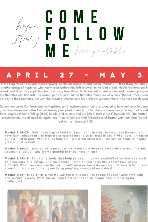Come Follow Me  |  Lesson Helps  |   Free Printable   |   April 27-May 3