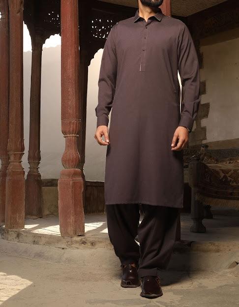 J. Junaid jamshed Dark brown shalwar kameez Men colleection
