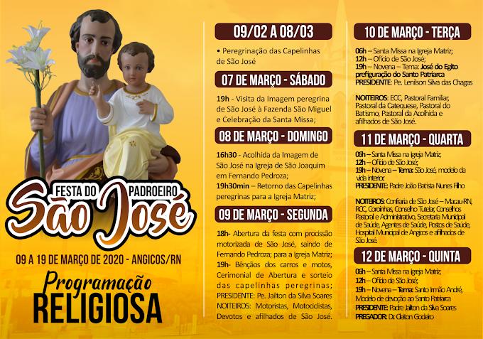Paróquia de Angicos apresenta PROGRAMAÇÃO RELIGIOSA OFICIAL DA FESTA DE SÃO JOSÉ 2020