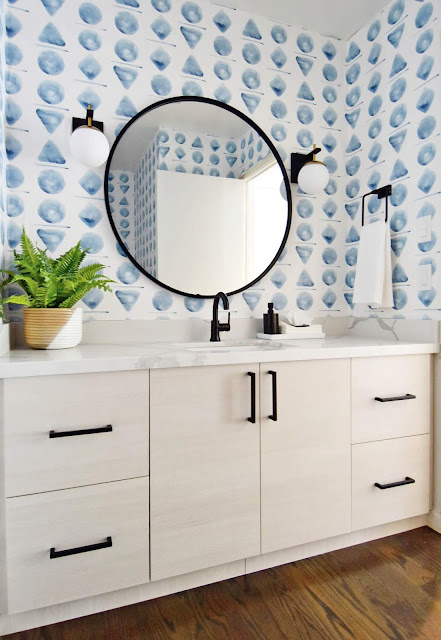 Bathroom Makeover with Wallpaper