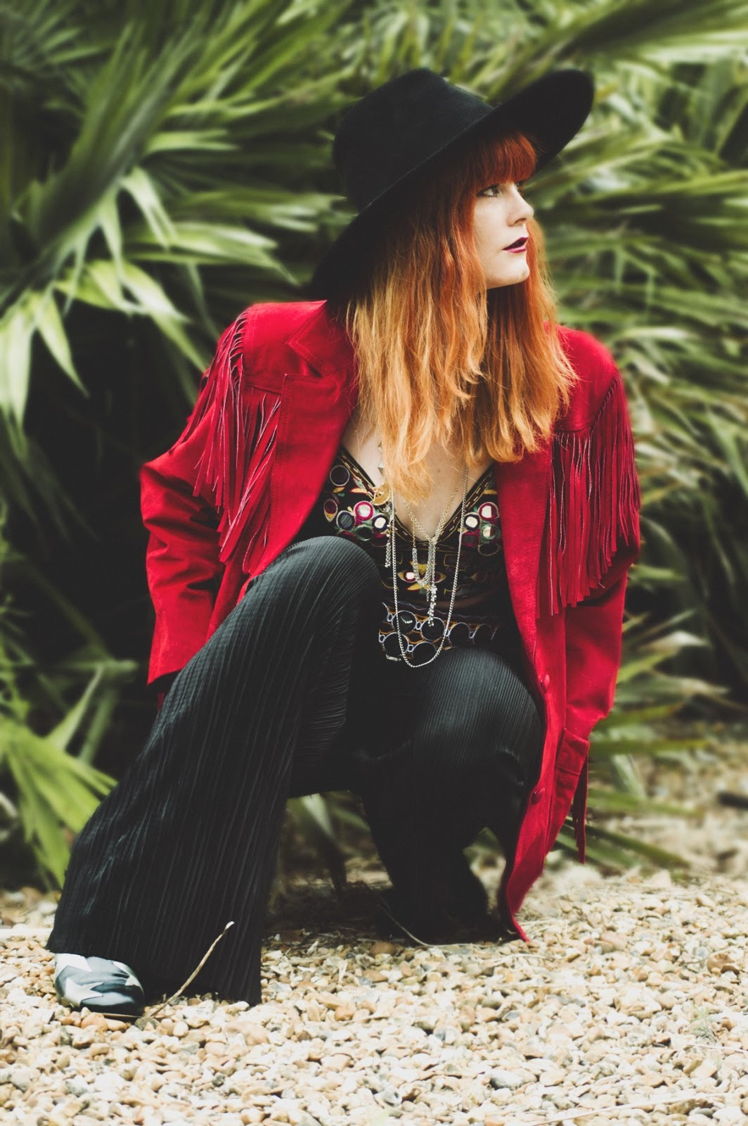 Vintage Red Suede Fringed Jacket 70s Fashion Blogger Photography