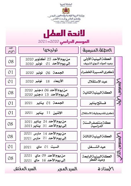 لائحة العطل المدرسية للموسم الدراسي-2020 2021
