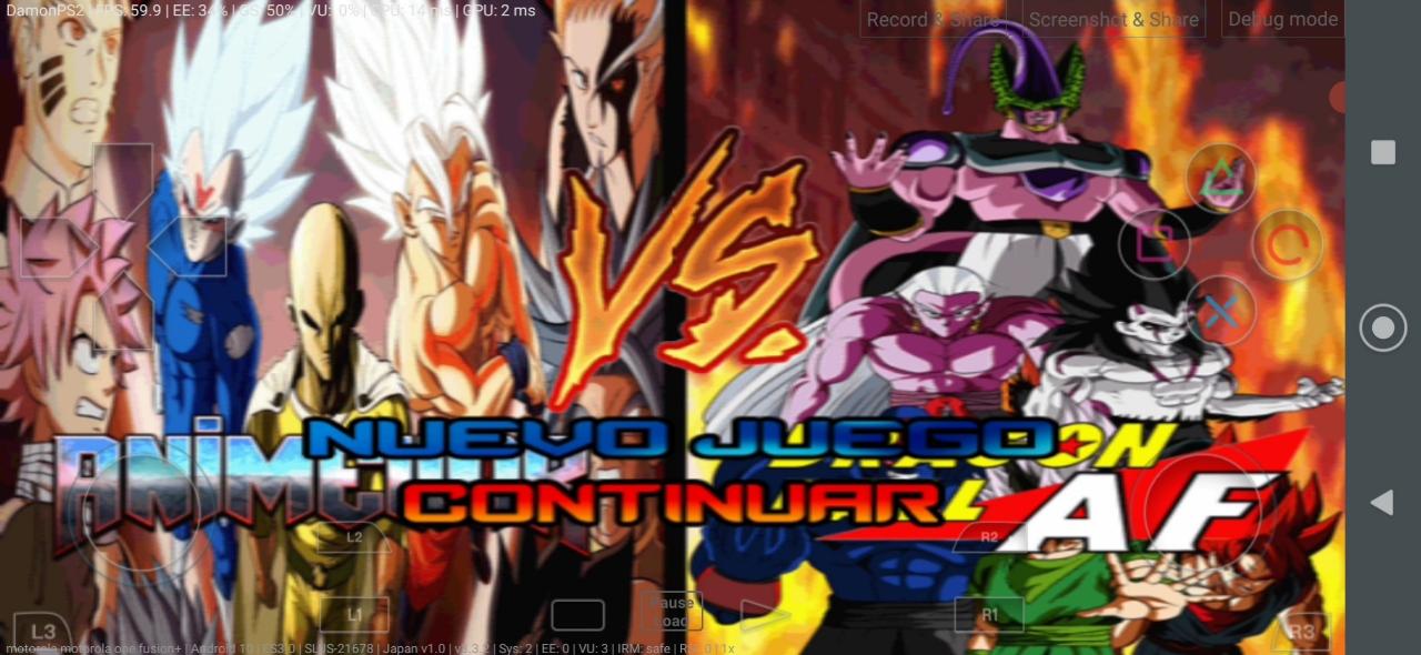 Anime War Vs AF DBZ BT3 MOD PS2 ISO