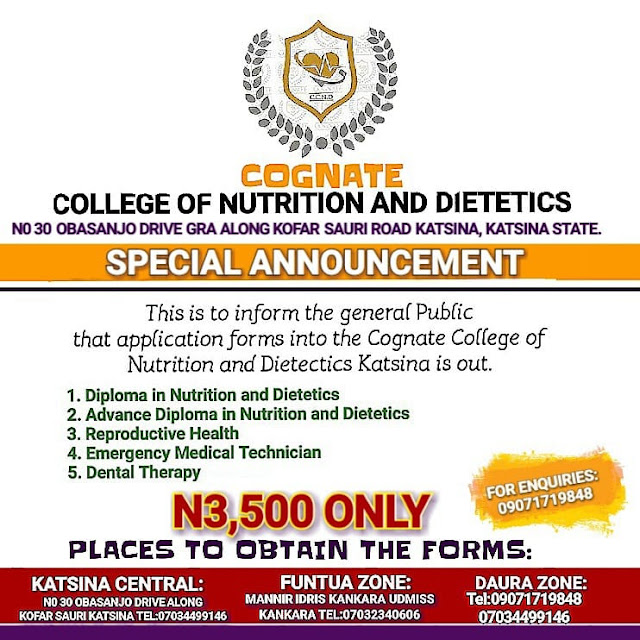 Cognate College of Nutrition & Dietetics Admssion Form 2020/2021