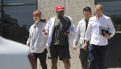Making Yeezy great again? Kanye West leaves his studio wearing a MAGA hat after he traded adoring tweets with President Trump and blasted Obama in epic Twitter rant – much to wife Kim's dismay