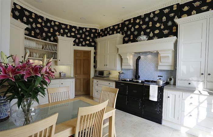 siyah koyu renk mutfak duvar kağıdı modeli