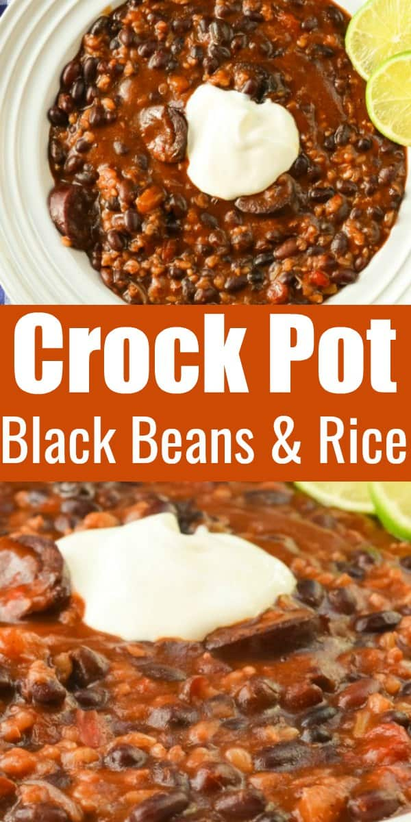 Crock Pot Black Beans and Rice with Sausage is a healthy hearty dinner recipe from Serena Bakes Simply From Scratch.