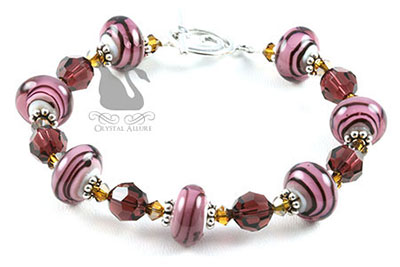 Raspberry Striped Lampwork Crystal Beaded Bracelet (B108)