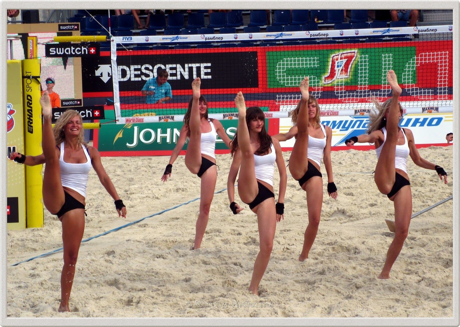 Beach Volleyball Black-White Bikini Cheerleaders