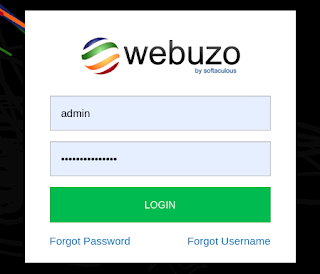 Webuzo Log in Page.