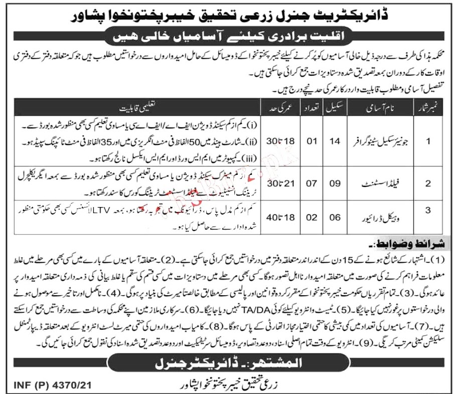 Agriculture Research Department Latest Jobs  Field Assistant , Vehicle Driver & other