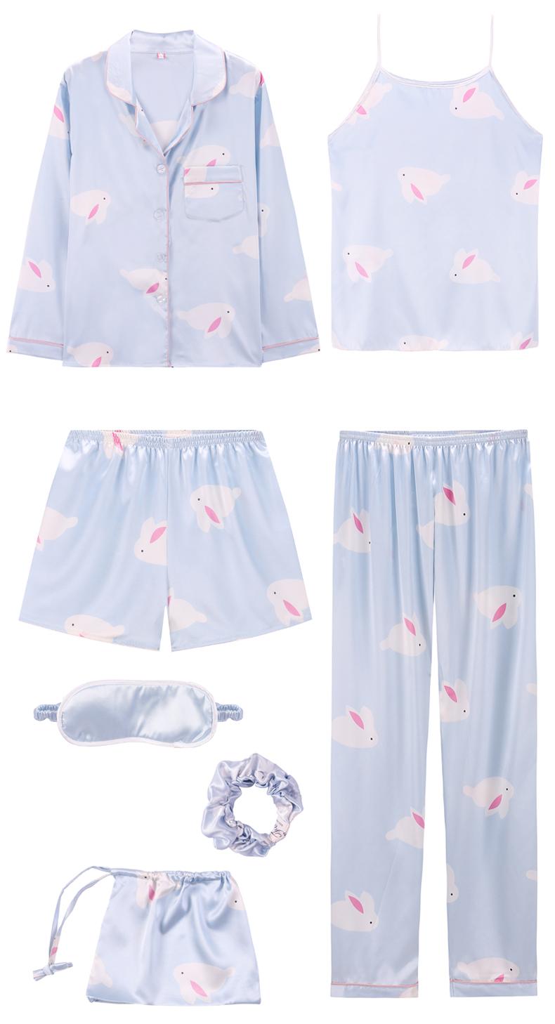 Bộ Pijama ngủ 7 chi tiết bằng lụa mặc nhà dễ thương 10