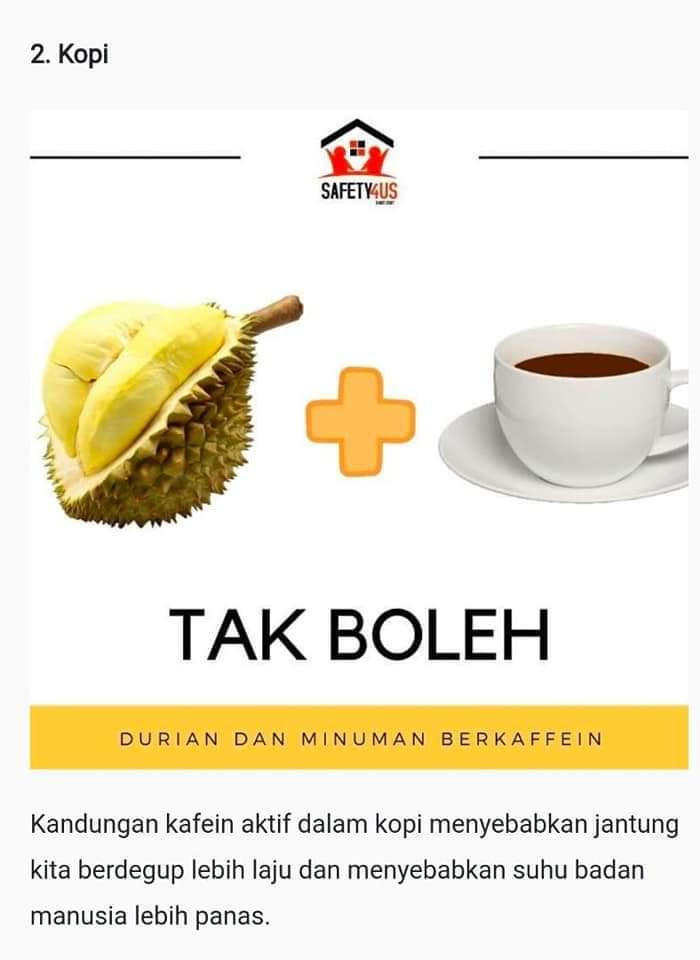 gabungan berbahaya durian dengan 6 makanan minuman ini