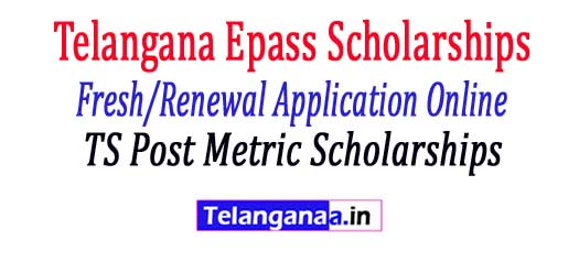 "TS Post Metric scholarships Epass 2018-19  Fresh / Renewal Application Form Registration process Online Status     Telangana / TS Epass Scholarship Fresh & Renewing 2017-18: Telangana's Government has been announced an amazing opportunity for all telangana students to improve education towards backward and planned sections of society - which means they introduced Fee Reimbursement / Scholarship to all students Has successfully completed enrollment / SSC exam for those who wish to pursue / interest postmatic studies such as Intermediate. Polytechnic, Diploma, ITI, Graduation, Postgraduate, Ph.D and Professional Courses. Candidates with an annual income of 2 Lakhs are eligible for this Telangana Reimbursement Scheme 2017-18. The TS Government invites applications from all matriculations or equivalent candidates for TS ePASS Scholarship 2017 @ telanganaepaas.cgg.gov.in. Telangana ePASS fresh as well as renewal registration for post-matricate scholarships of the academic year 2017-18 will be opened very soon. Each candidate must require a bank account in each of the nationalized banks planned to get reimbursement / scholarship. In this article, we also updated information on Telangana Epass Fellowships Fresh / Renewal Applications, Telangana Epass Scholarship Status, TS Epass Scholarships Online, Last Date, etc.  TS Post Metric scholarships Epass 2017-18 Fresh / Renewal Application Form Registration process Online Status   TS ePass Postmatric Scholarship For Fresh / Renewal Application Procedures 2017 - 18, candidates those who are eligible and interested to join in pre / post metric course with higher education institutions in a request for reimbursement scheme. Students who have already registered for TS Epass Scheme must renew their previous applications. Both fresh and renewal applications for Postmetric & Pre Metric scholarships for the academic year 2017-18 are now being opened. Applicants who are eligible under Telangana's remuneration system for the academic year 2017-18 are asked to apply from active epass links @ telanganaepass.gov.cgg.in. For the convenience of students from all over state follow our website.  TS Post Metric scholarships Epass 2017-18 Fresh / Renewal Application Form Registration process Online Status    NewAP Epass 2017 -18 Telangana ePass post / metric scholarship  Students who are willing to apply the Telangana E-pass Fresh Fellowship must be aware of the necessary documents to be submitted at the time of TS EPass's application. Application documents are submitted by   2017.  TS Post Metric scholarships Epass 2017-18 Fresh / Renewal Application Form Registration process Online Status   Required Documents for Telangana ePass Post-Matric Fresh Applications:      Latest Passport size photo     Student Aadhaar card     Bank Pass Book First page Xerox (the student name, bank account number & branch should exist)     Studies / Bonafide Certificates of seven consecutive study years.     Common input test -CET (ICET, EAMCET, PGCET, OUCET) Allocation order     SSC certificate     Caste & income of Mee Seva (Six months from the date of application)     Mobile number for a time password via SMS.  Approval criteria for Telangana / TS ePass Post / Pre Metric Scholarship 2017-18 TS Post Metric scholarships Epass 2017-18 Fresh / Renewal Application Form Registration process Online Status        Candidates of the SC / ST categories with parental income less than two Lakhs     BC / EBC / Disabled Welfare Applicants whose parents' salary is less than or a lakh.     Participation of students must be no less than 75% at the end of each quarter.  Telangana ePass FreshPost / Pre Metric Scholarship Application procedure 2017-18TS-Epass-Fresh application procedure   TS Post Metric scholarships Epass 2017-18 Fresh / Renewal Application Form Registration process Online Status    In here, we update step by step procedures for TS Fresh Scholarship application apply below ...      Candidates initially received an epass official website @ telanganaepass.cgg.gov.in     Choose the appropriate link based on your requirement namely Fresh or Refresh     Now select the SSC Pass type (Regular / Supple / CBSE etc.)     Then offer SSC Hall ticket number, passing SSC year and date of birth.     Confirm the details and click Submit.     You have access to the registration form.     Now you need details such as CET number, Aadhaar card / VAT number, address, father's name, cell phone number, etc.     Upload your allotment, income / caste certificate, ration card, aadhaar card, etc.     Check again all the details and uploaded certificates before filing.     Accept the completed application form / confirmation for future use.  Telangana ePass Renewal Post / Pre Metric Fellowship Application Procedures 2017-18TS-Epass Renewal Application ProcedureCandidates the renewal procedure for TS ePass Application 2017-18 is very simple when comparing with the submission of fresh application. Students must confirm their particulars, which used to apply earlier for fresh epass and send all the documents to your college     Enter your ePass application number, SSC pass type / Hall ticket number / year of implementation.     Students must submit scanned copies of Bank Passbook, Latest Marks Memo & Income Certificate (Original).     Check all the details and twice before submitting the application form.     Take the expression of recognition for future reference, which must be submitted in the institution / institution  Telangana ePass Post / Pre Metric Scholarship Application Status 2017-18TS-Epass Fresh Renewal Application Status   TS Post Metric scholarships Epass 2017-18 Fresh / Renewal Application Form Registration process Online Status   Candidates can track their scholarships as well as the fee reimbursement status through this TS Epass Application Status 2017-18. Follow the steps below to know your Telangana Fresh or renew Epass Fellowship status      On the first visit Telangana epass official website @ telanganaepass.cgg.gov.in     Locate and open the ""Know your Application Status"" link.     Enter details such as Application No., Academic Year, SSC Hall Ticket No / Pass / Year of Passport and Date of Birth.     Check the details and click the Get status button.     Candidate application, scholarship and reimbursement status displayed on the screen."