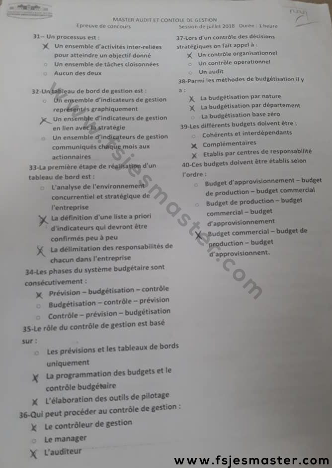 Exemple Concours Master Audit et Contrôle de Gestion 2018-2019 - Fsjes Settat