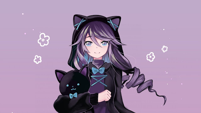 Hoodie Anime Girl For PC Background Icons