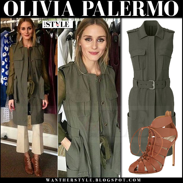 Olivia Palermo in olive green sleeveless chelsea28 vest, beige pants and brown lace up francesco russo cut out booties what she wore outfit inspiration