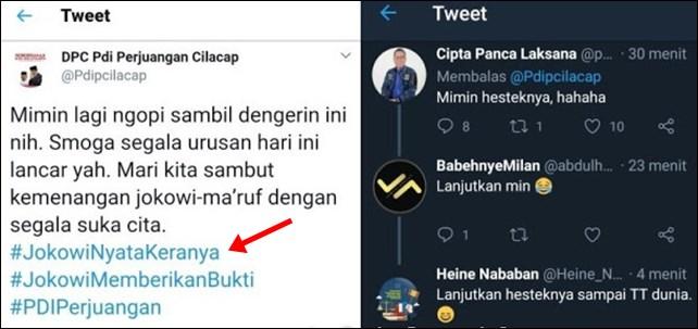 Ngakak, Akun PDIP dan Pendukung 01 Twit Pakai Tagar #JokowiNyataKeranya