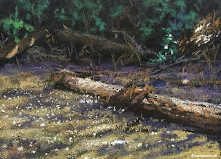 A soft pastel painting of a scene from Coorg on black Canson Mi Teintes paper