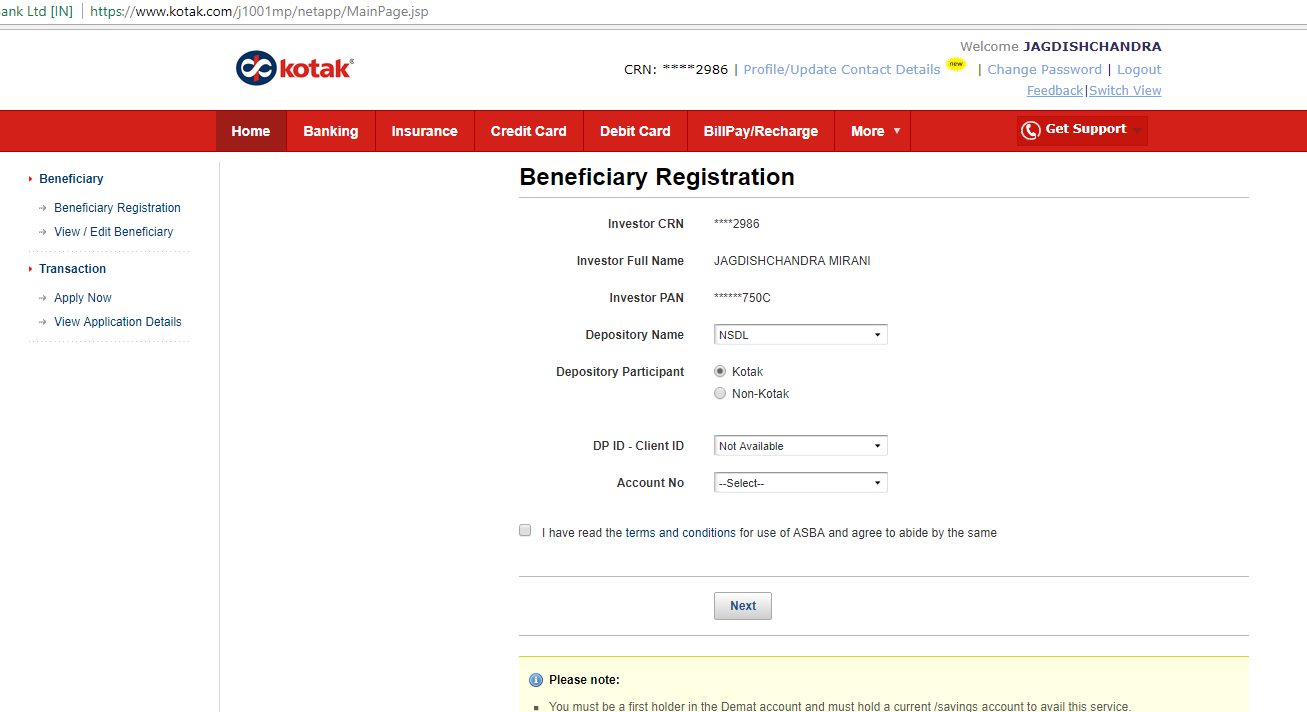 What is beneficiary account number for ipo
