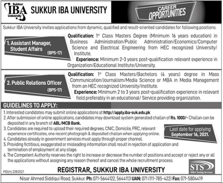 https://apply.iba-suk.edu.pk - Sukkur IBA University Jobs 2021 in Pakistan