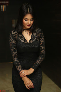 Actress Monica in spicy transparent Black Top at O Pilla Nee Valla Movie Audio Launch Feb 2017 097.JPG