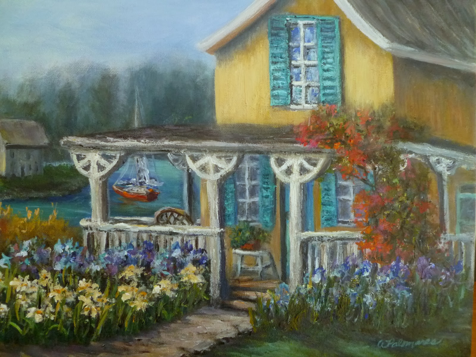 Cottage Garden By The Sea Painting Amber Palomares Fine Art