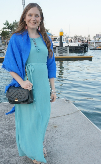 pastel grecian maxi dress with vintage Chanel bag and louis vuitton monogram shawl for waterfront wedding | awayfromblue