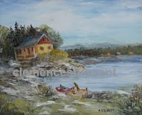 Chalets bordant un lac en Abitibi, huile 8 x 10 - par Clémence St-Laurent