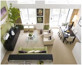 Contoh ruang keluarga yang menyatu dengan ruang makan