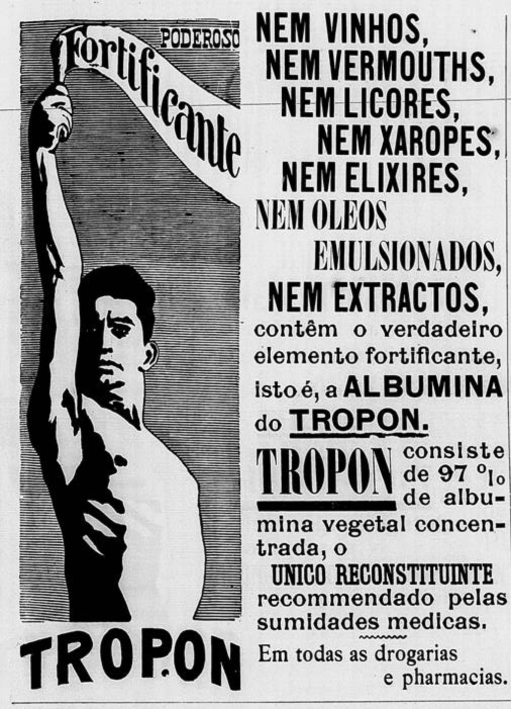Propaganda antiga do fortificante Tropon veiculada em 1900
