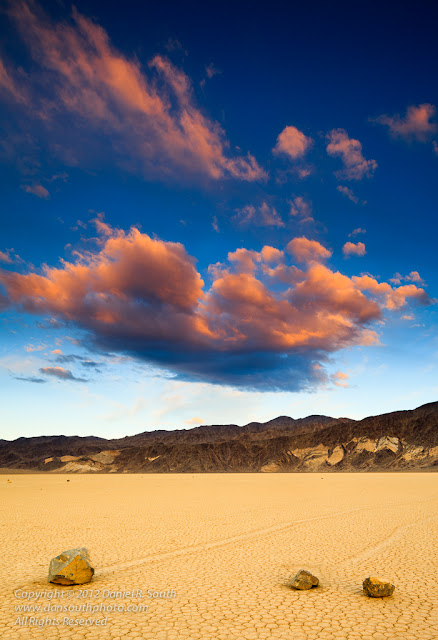 a photograph of a brilliant sunset at the racetrack in death valley