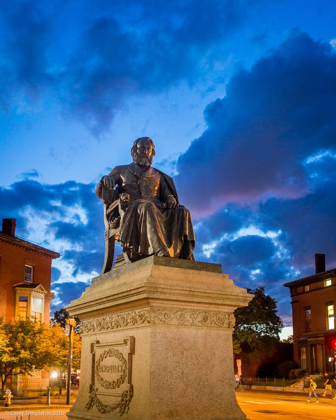 Portland, Maine USA September 2016 photo by Corey Templeton of the Henry Wadsworth Longfellow Statue in Longfellow Square.