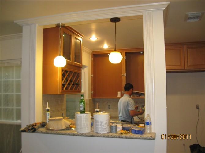 kitchen remodel dallas water dispenser houston remodeling 休斯顿张先生家厨房改造 理石台面的安装 地砖 地板工程